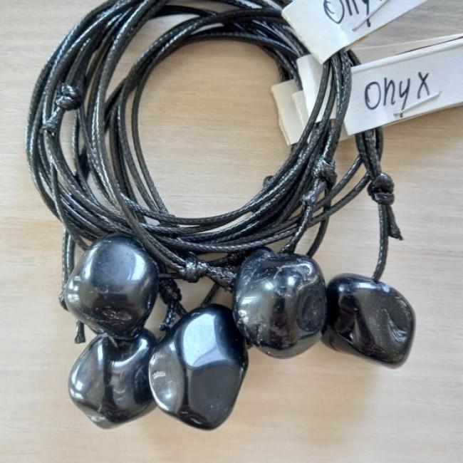 Onyx Edelsteen Doorboorde Hanger + Koordje