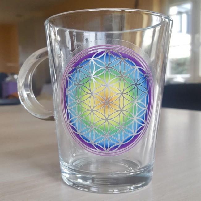Glas met Flower of Life symbool