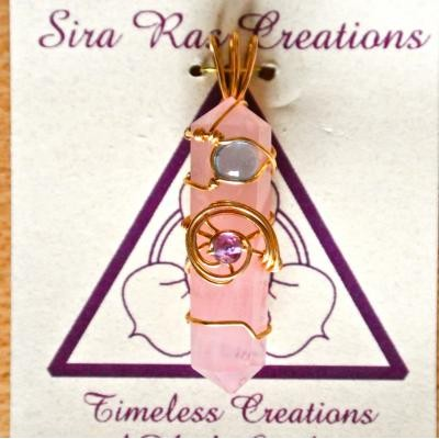 Sira Ras Rozenkwarts & Amethist & Bl.topaas hanger nr 6856