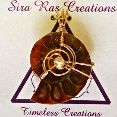 Sira Ras Ammoniet Fossiel & Citrien hanger nr 6900